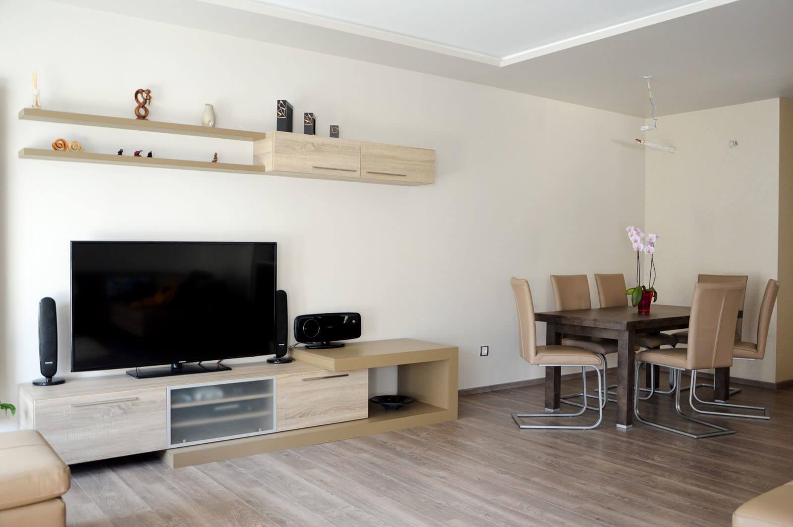 Egyedi nappali bútor készítés lebegő polccal