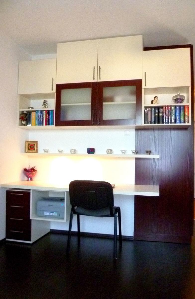 Egyedi szobabútor készítés egybeépítve dolgozósarokkal, fiókos konténerrel