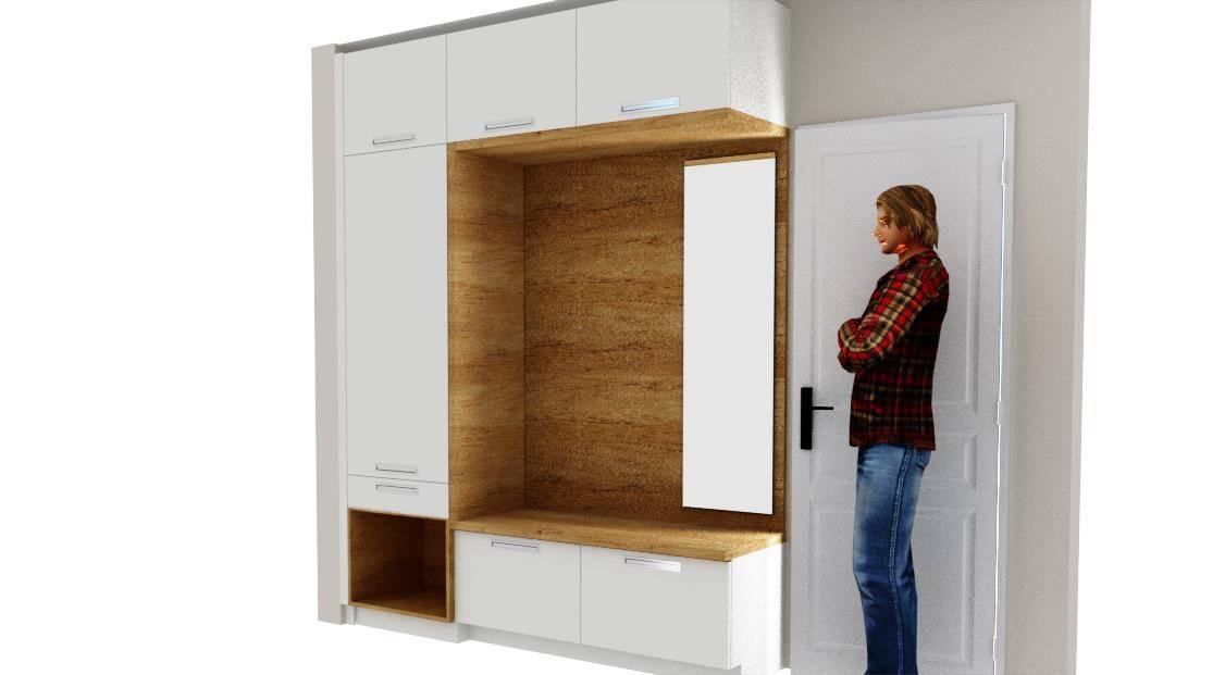 Egyedi előszoba bútor 3D látványterv uloresszel - fali tükörrel modern kivitelbe