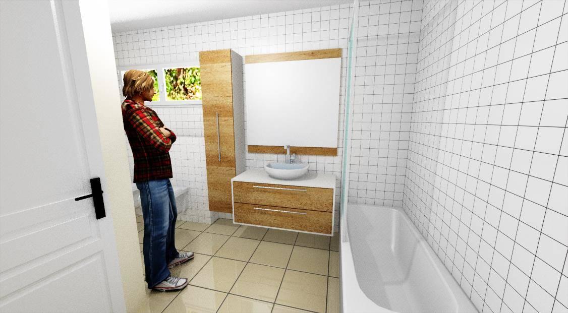 Egyedi fürdőszoba bútor 3D látványterv, lebegő pulttal, fali tükörrel és rejtett led világítással
