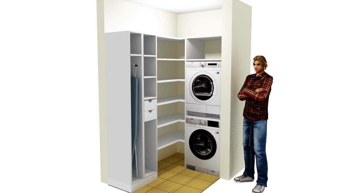 Egyedi mosókonyha bútorozás mosó és szárítógép beépítésével