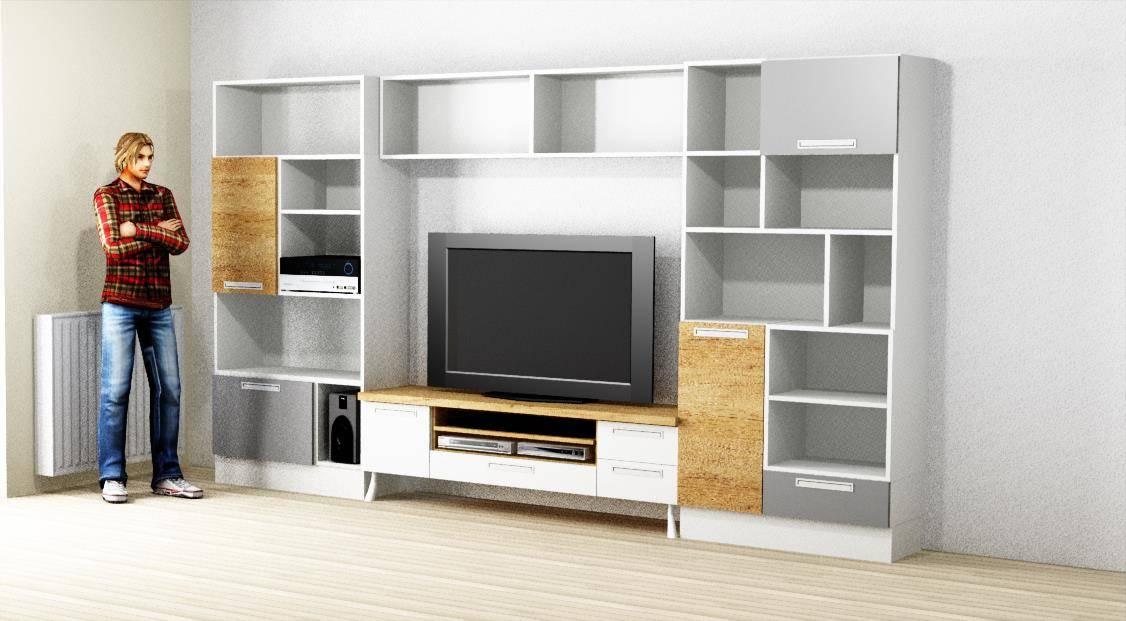 Egyedi nappali bútor 3D látványterv, nyitott polcos és fiókos elemekkel