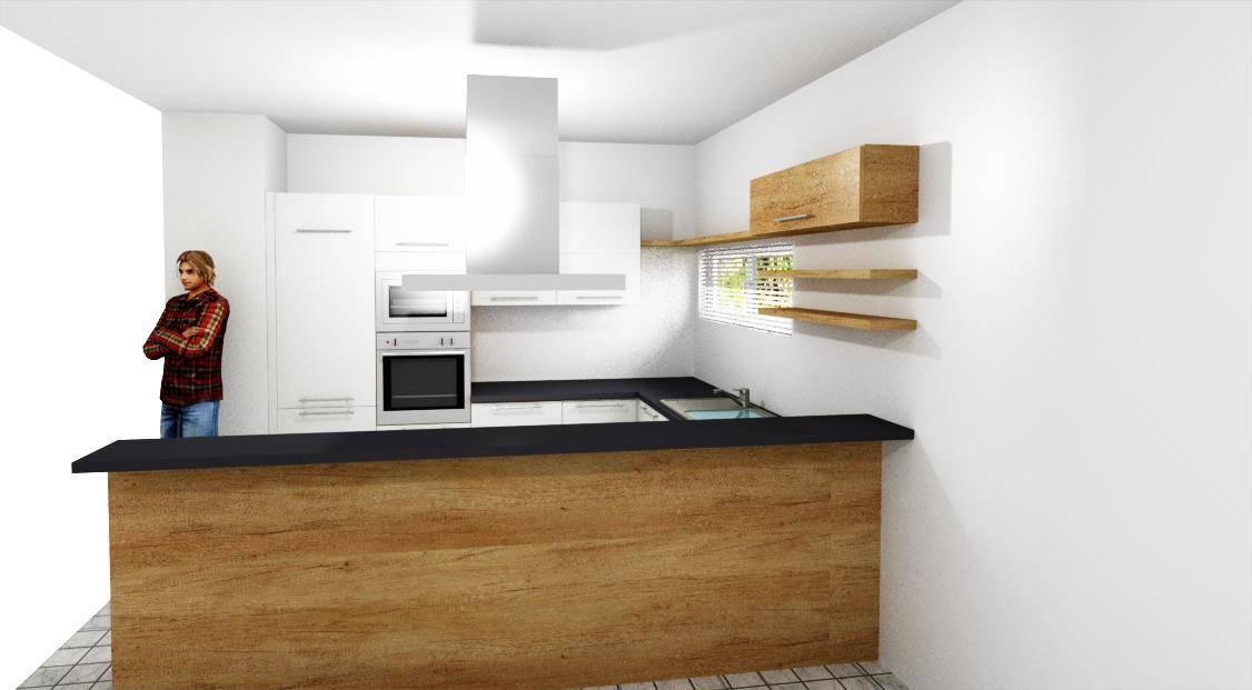 Egyedi konyhabútor 3D látványterv U alakba - szigetrésszel, rejett led világítással, lebegőpolcokkal