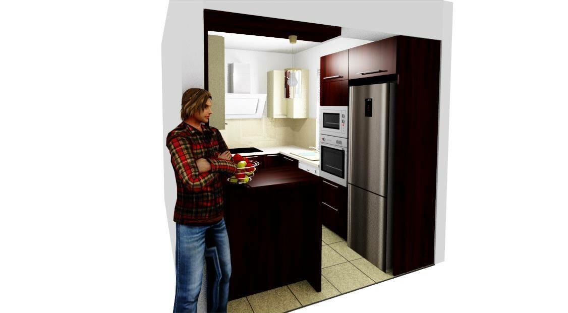 Egyedi modern konyhabútor 3D látványterv bézs-mahagóni színbe-üveghátlappal. Beépített konyhai gépekkel