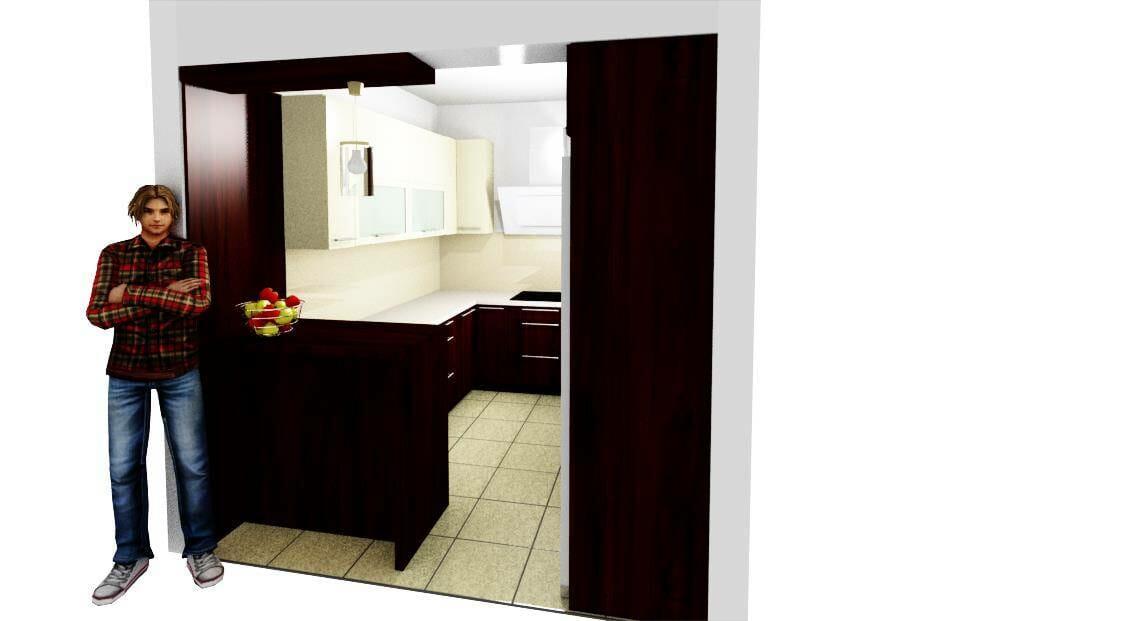 Egyedi modern konyhabútor 3D látványterv bézs-mahagóni színbe-üveghátlappal