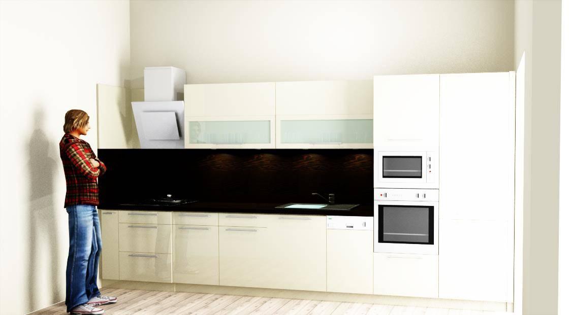 Egyedi konyhabútor készítés 3D látványterv egyenes falra