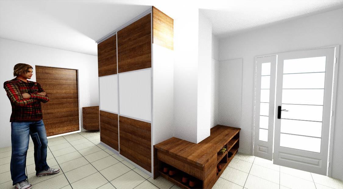 Egyedi előszoba bútor 3D látványterv. Tolóajtós szekrénnyel és nyitott polcos cipősszekrénnyel, háromszög sarokszekrénnyel