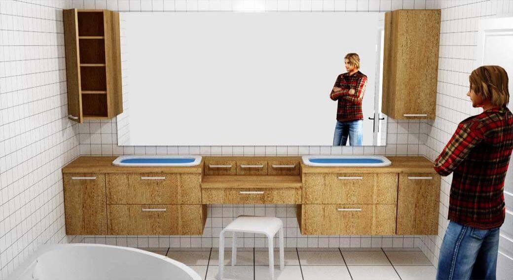 Egyedi fürdőszoba bútor látványterv, tükörbe épített LED világítással