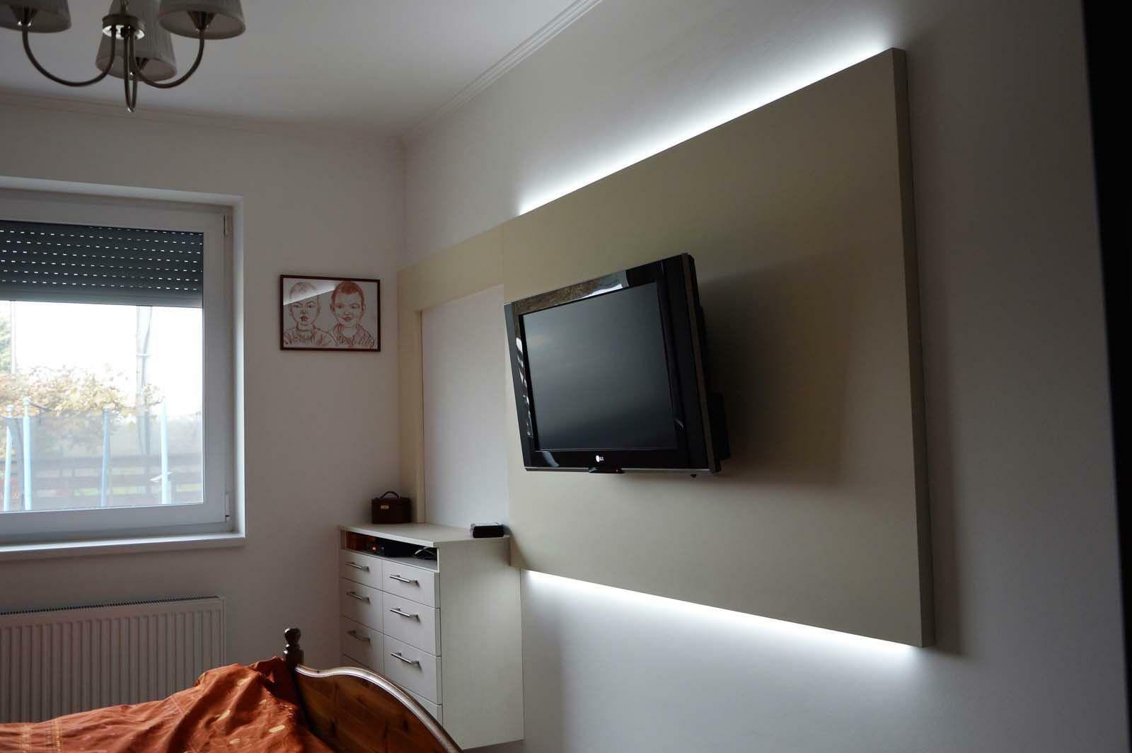 Egyedi hálószoba bútor készítés rejtett LED világítással, fiókos szekrénnyel