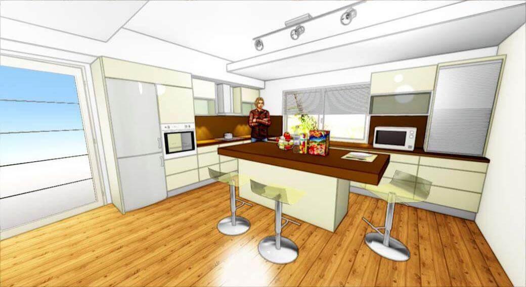Egyedi konyhabútor 3D látványterv szigettel, modern kivitelben
