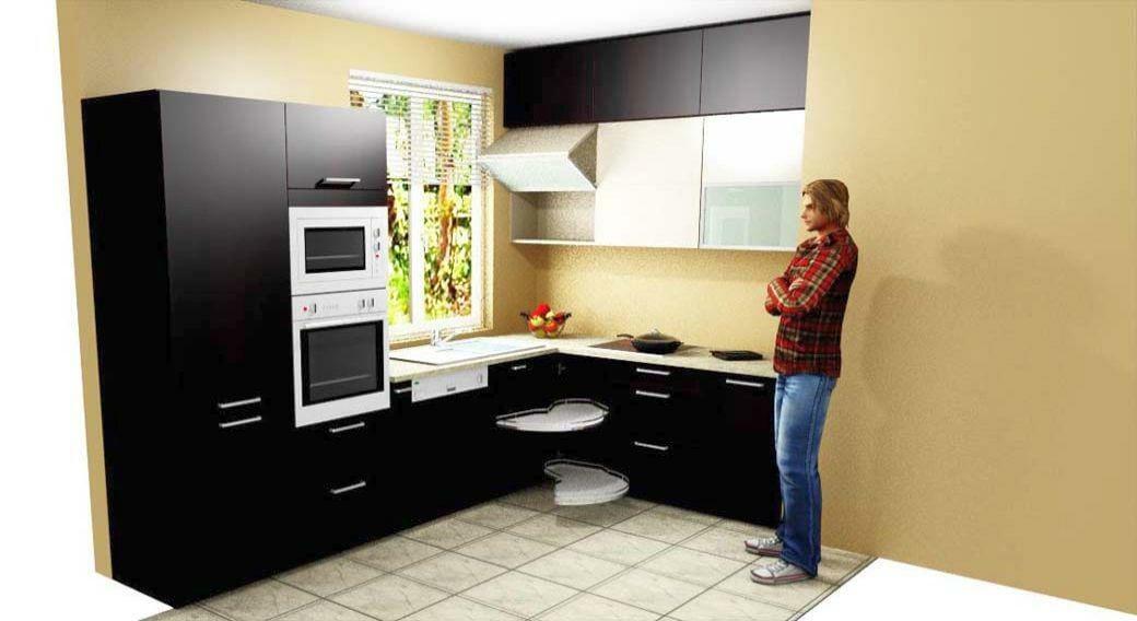 Egyedi konyhabútor gyártás 3D látványterv, blum aventos HF felnyíló vasalattal, magic corner sarokszerelvénnyel