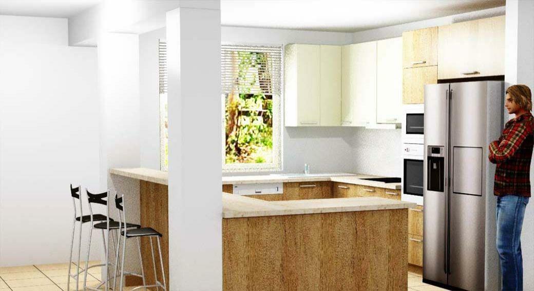 Egyedi konyhabútor gyártás 3D látványtervvel, szigettel és festett Lacobell üveghátlappal