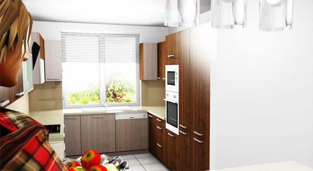 Egyedi konyhabútor 3D látványterv készítés reggeliző pulttal és beépített gépekkel