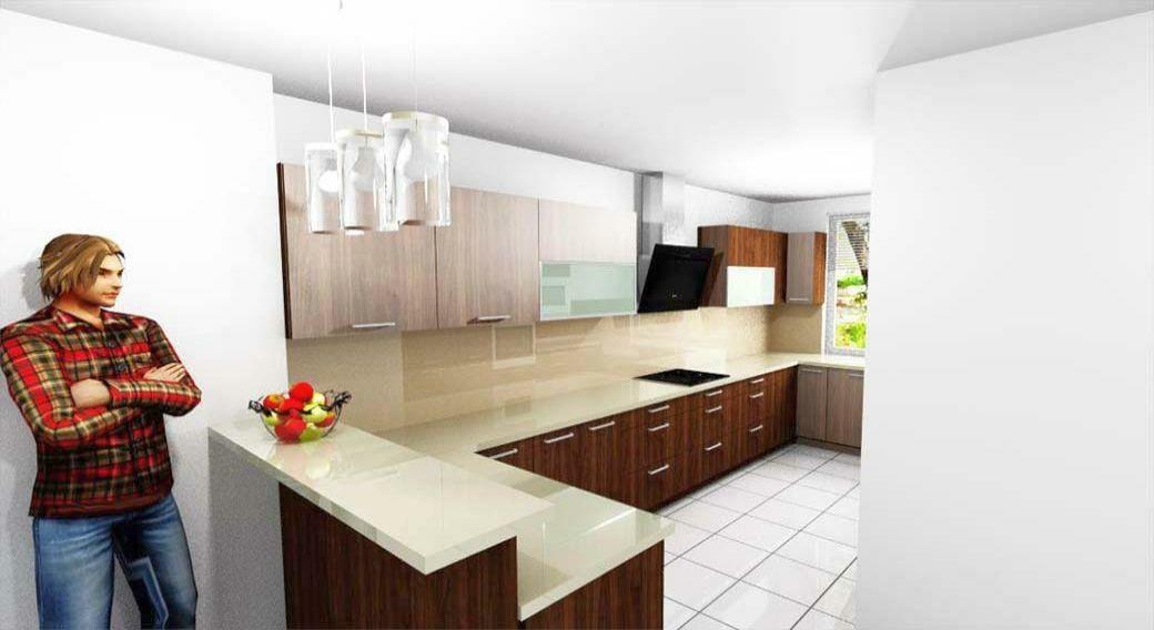 Egyedi konyhabútor készítés 3D látványtervvel, reggeliző pulttal