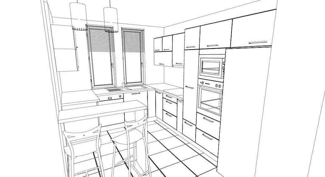 Egyedi konyhabútorhoz 3D látványterv-skicc