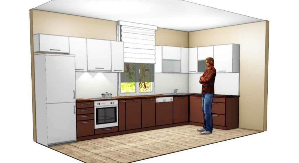 Egyedi konyhabútor készítés alsó-felső elemekkel, festett üveghátlappal és 3D látványtervvel
