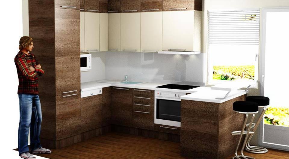 Egyedi konyhabútor készítés L alakba üveghátlappal és szigetresszel