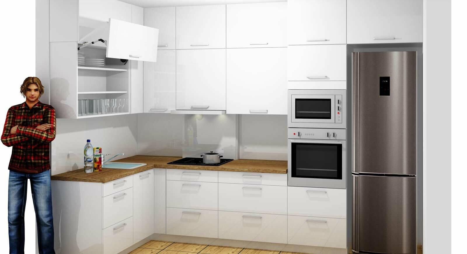 Egyedi konyhabútor 3D látványterv készítés magasfényű akril felületű bútorlapból, üveghátlappal, rejtett LED világítással