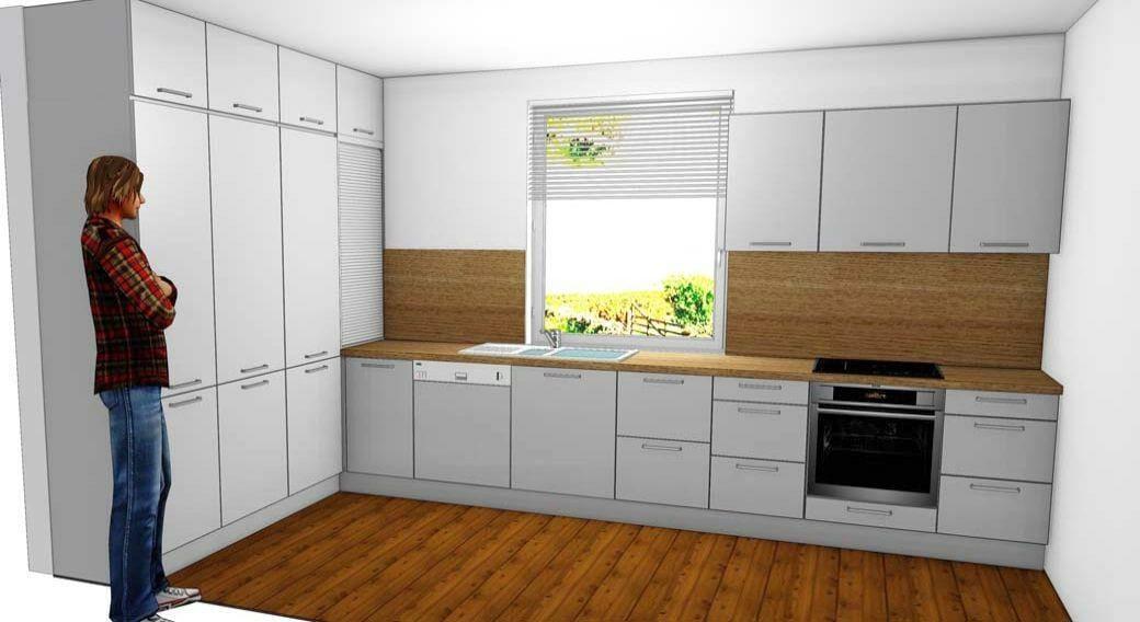 Egyedi konyhabútor készítés teljes belmagasság beépítéssel, 3D látványtervvel