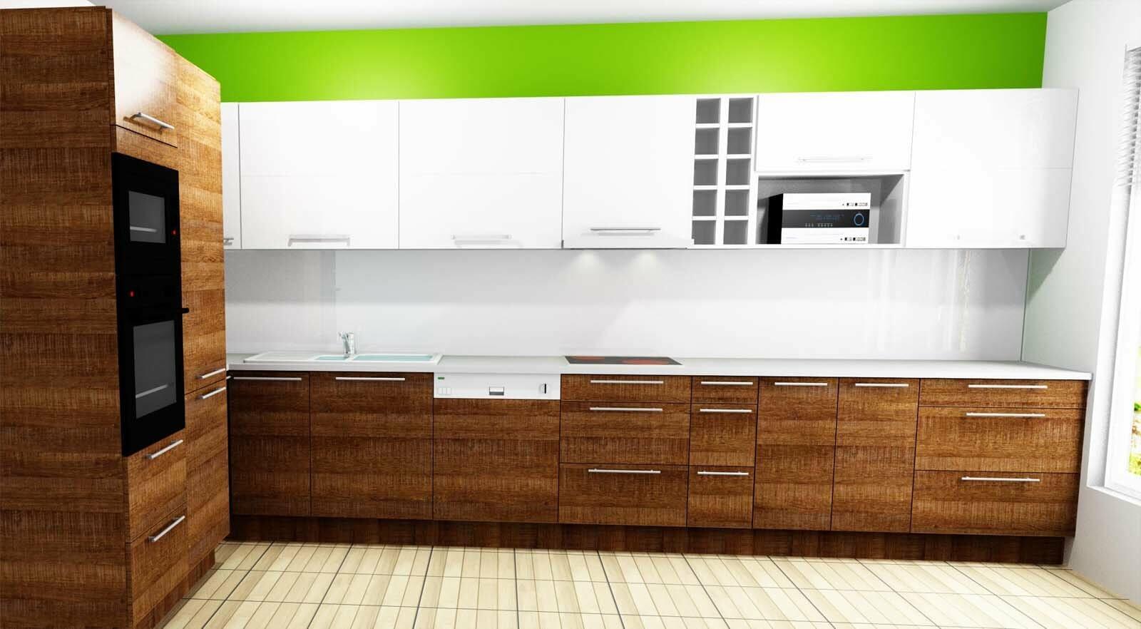Egyedi konyhabútor készítés 3D látványtervvel, magasfényű akril felső, fa alsó elemekkel, rejtett LED világítással és beépített tolóajtóval