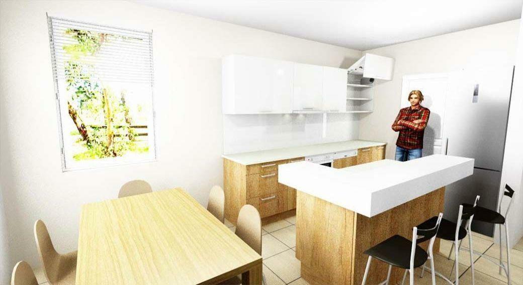 Modern konyhabútor készítés szigettel, 3D látványtervvel